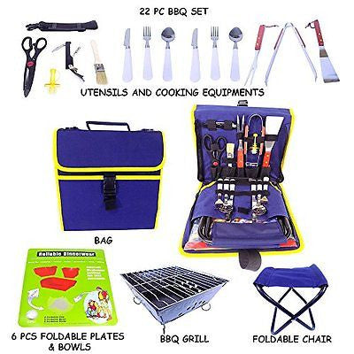 Barbecue Grilling Set with 22 Pieces Grill Tools Stainless Steel Flatware