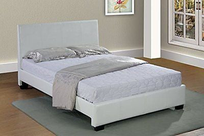 White Home Life Leather Platform Bed with Slats Queen - Complete Bed 5 Year