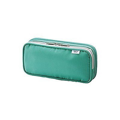 "LIHIT LAB Double Pen Case, L size, Green, 4.1 x 8.7"" (A-7661-7)"