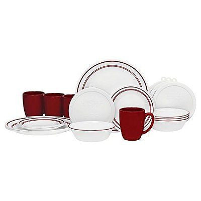 20 Piece Livingware Dinnerware Set with StorageClassic Cafe Red Service for 4
