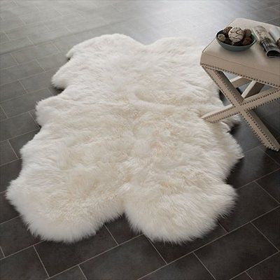 Safavieh Sheep Skin Collection SHS211A Handmade White Area Rug