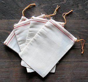 Cotton Muslin Bags 6x8 inches Red Hem Orange Drawstring 25 count pack
