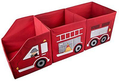 Red Firetruck Toy Organizer Storage Cubes - 3 Piece Set