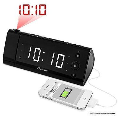 Electrohome EAAC475W USB Charging Alarm Clock Radio with Time Projection