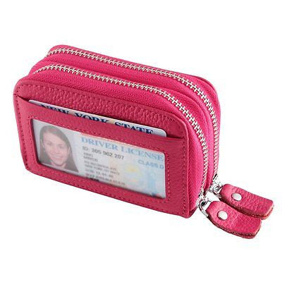RFID Blocking Double Zipper Accordion style Card Wallet with ID Window