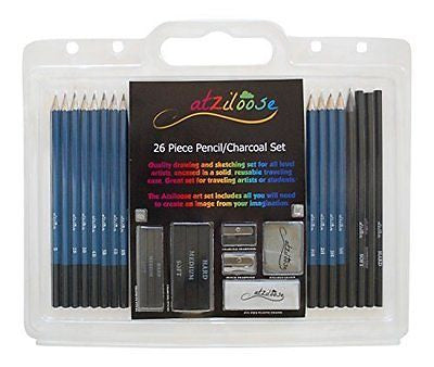 Atziloose Art Supplies Drawing Pencils 26 Piece Drawing Pencil and Charcoal Art