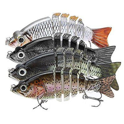 "4"" Multi-jointed Pike Muskie Fishing Lure Crankbait Hard Fish Hook Tackle NEW"