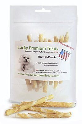 Lucky Premium Treats Rawhide Chews with REAL Chicken, Natural Gluten Free Dog