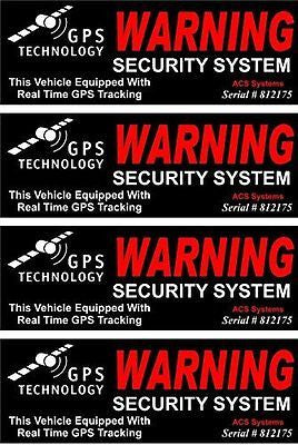 4-Set Impassioned Modern Outside Adhesive GPS Warning Security System Stickers