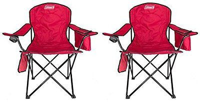 (2) COLEMAN Camping Outdoor Oversized Quad Chairs w/ Cooler & Cup Holder - Red