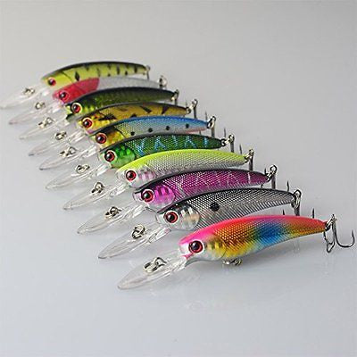 HappyFishing 10pcs/lot Mixed Minnow Fishing Lures Bass CrankBait Tackle 3.5inch