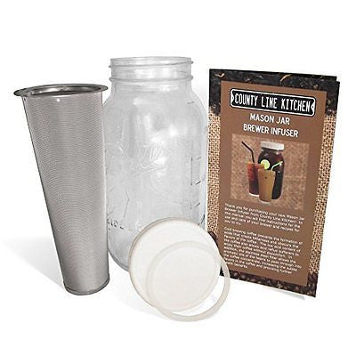 Cold Brew Coffee, Iced Coffee and Iced Tea Maker Infuser, 2 Quart Mason Jar