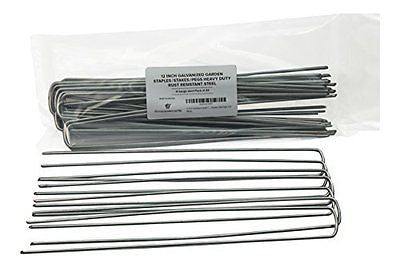 12 Inch Galvanized Garden Staples/Stakes/Pegs Heavy Duty Rust Resistant Steel