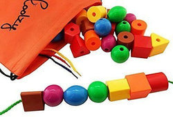 Jumbo Primary Stringing Bead Set by Skoolzy with 36 Lacing Beads