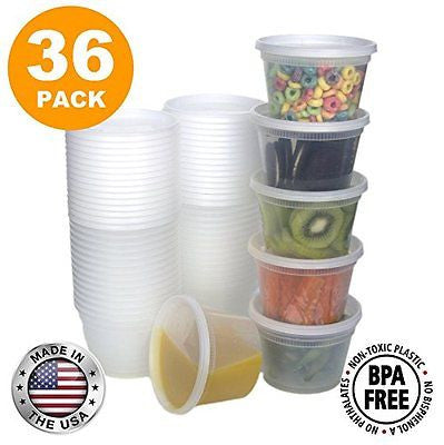 Food Storage Containers with Lids Round Plastic Deli Cups US Made 16 oz