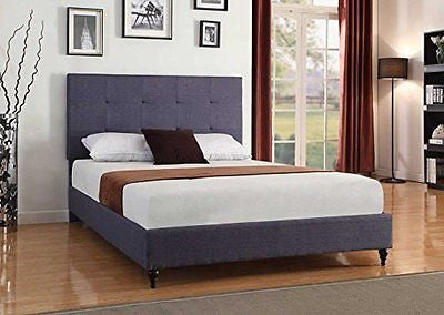 Home Life Cloth Charcoal Blue Linen Platform Bed with Slats Queen