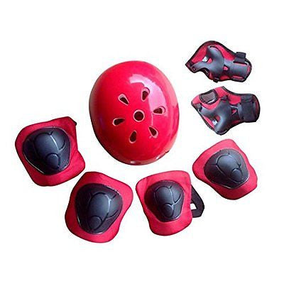 7pcs Kids MTB Road Bike Bicycle Cycling Helmet Knee Elbow Wrist Pads Sport