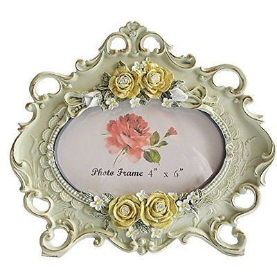 GiftGarden Classic Edging 6 x 4 inch Rose Flower Carving Photo Frame