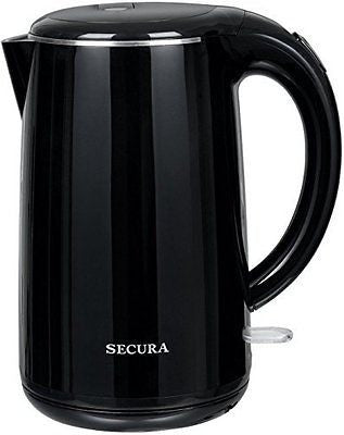 Stainless Steel Double Wall Electric Water Kettle 1.8 quart Black