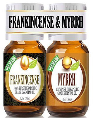 Frankincense and Myrrh Essential Oil Combo Pack 100% Pure, Best Therapeutic