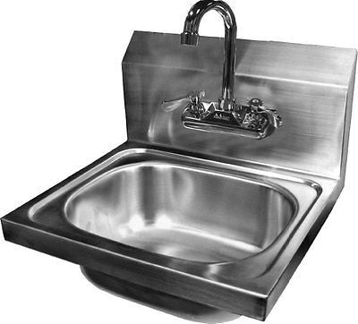 ACE Wall Mount Stainless Steel Hand Sink with No Lead Faucet and Strainer