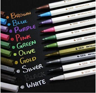 XMJ Set of 10 Colors Metallic Marker Pens Gold Silver White Pink Ink Card
