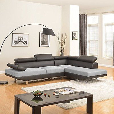 Modern Contemporary Designed Two Tone Microfiber and Bonded Leather Sectional