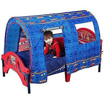 Disney Cars Toddler Bed with Tent Semi-enclosed Headboard Footboard Low Bed
