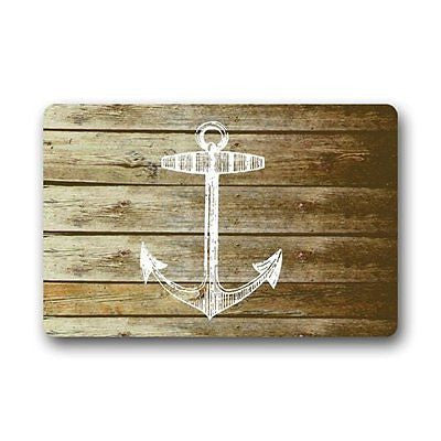 Vintage Wood Pattern With Anchor Art Print Doormat Door Mat Rug
