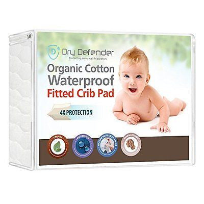 Organic Cotton Waterproof Fitted Crib Pad - Crib Mattress Cover & Protector