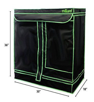 "MILLIARD 30"" x 18"" x 36"" 100% Reflective Hydroponic Mylar Grow Tent with Window"