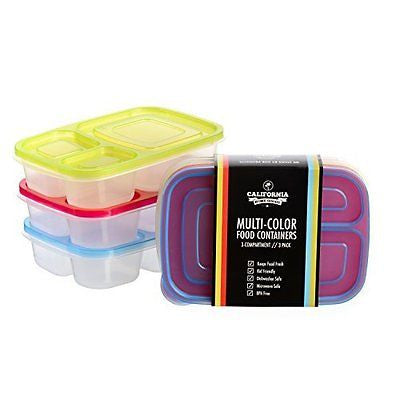 3 Compartment  Food Storage Containers for Kids and Adults Set of 3