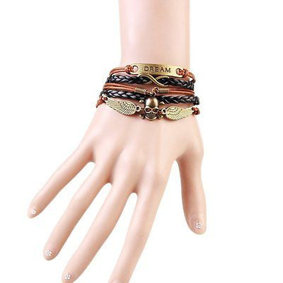 Bronze Skeletion Skull Angel Wings Drem Adjustable Bracelet