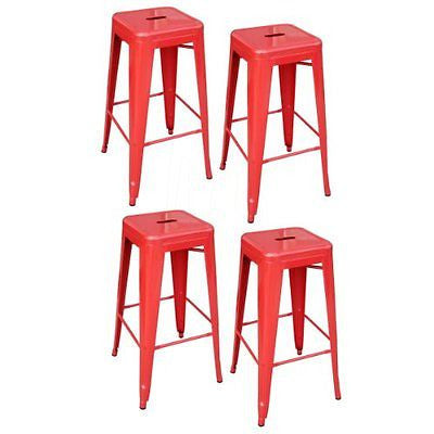 AmeriHome Metal Bar Stool Set 30-Inch Red Set of 4