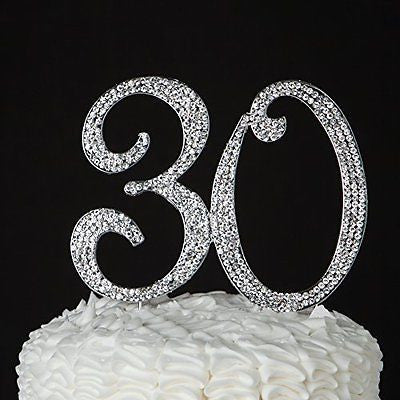 30 Cake Topper for 30th Birthday or Anniversary - Party Supplies & Decoration