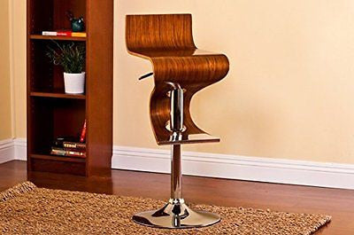 Bentwood Walnut Stain Finish Contemporary Adjustable Barstool Curved Seat Back