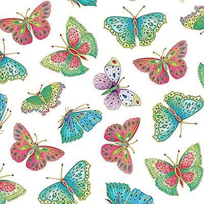 Entertaining with Caspari Gift Wrapping Paper, Butterflies Ivory, 4-Sheets