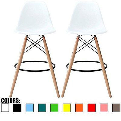 2xhome - Set of Two (2) - White - Eames Chair Style DSW Molded Plastic Bar