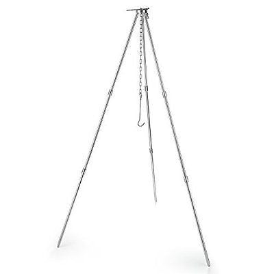 FiveJoy Aluminum Foldable Campfire Tripod - Adjustable Hang Chain - Collapsible