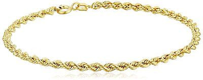 14k Yellow Gold Hollow Rope Chain Bracelet, 7.25""