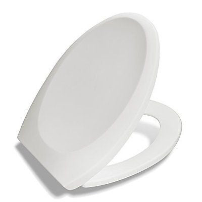 Premium Elongated Toilet Seat w/ Cover, High-Gloss Polypropylene Lasts Longer