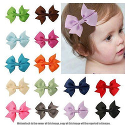 20pcs Boutique Hair Bows Girl Baby Grosgrain Ribbon Clips