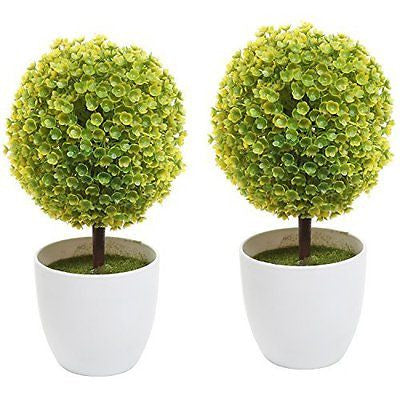 Set of 2 Artificial Faux Potted Tabletop Plant Topiary w/ White Planter Pots