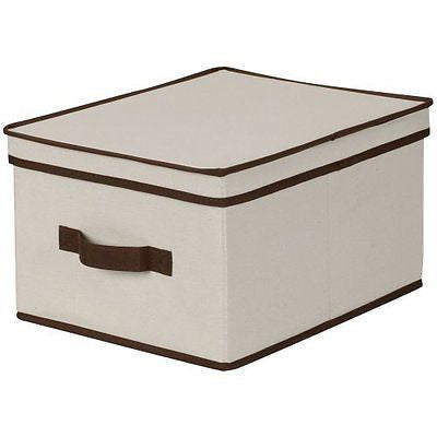 Large Storage Box Natural Canvas with Brown Trim