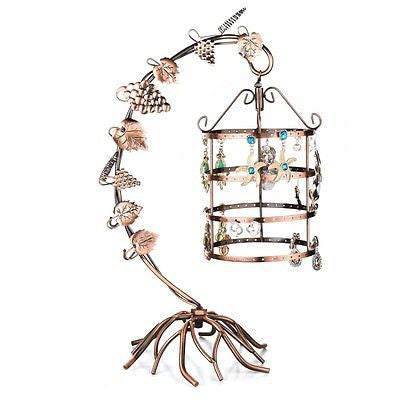 4 Tier Bird Cage D¨¦cor Rotating Table Top Earrings Organizer / Necklace Jewelry