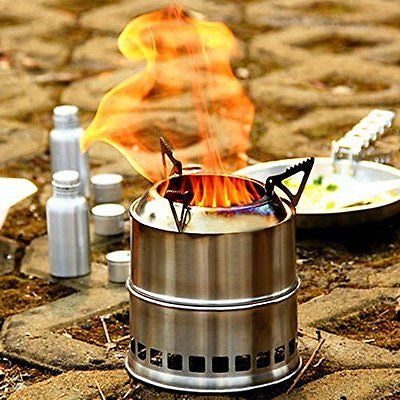 EIALA Stainless Steel Wood Burning Stove Stove Cooking Picnic BBQ Camping