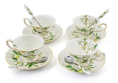 Porcelain Tea Cup and Saucer Coffee Cup Setwith Saucer and Spoon 7 oz Set of 4