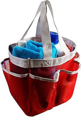 2 IN 1 SET Mesh Shower Caddy + 1 PVC Pouch, Premium 7-pocket Mesh Portable