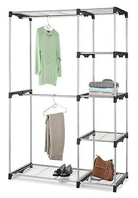 Whitmor 6779-3044 Double Rod Freestanding Closet with Steel and Resin Frame