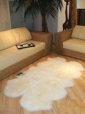 Genuine Sheepskin Rug Four Pelt Ivory 4x6